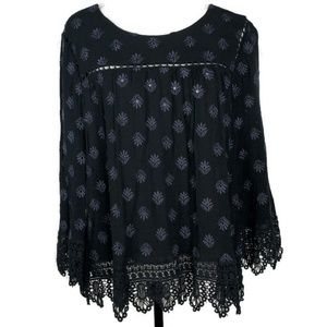 Daniel Rainn Black Embroidered XL Top